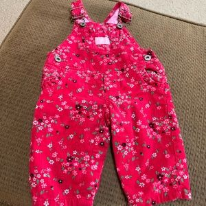 Adorable bright pink corduroy overalls